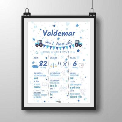 1 års fødselsdagsplakat i blålige nuancer