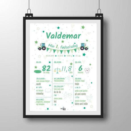 1 års fødselsdag plakat i grønlige nuancer