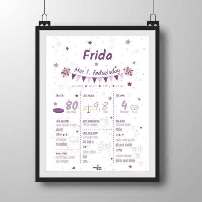 1 års fødselsdag plakat i lilla nuancer