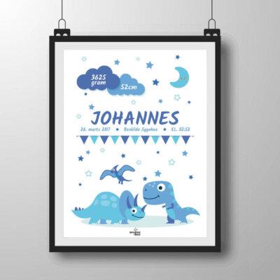 Navneplakat med dinoer i blålige nuancer