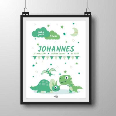Navneplakat med dinoer i grønlige nuancer