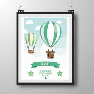 Navneplakat med luftballoner i grønlige nuancer