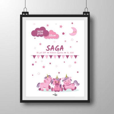 Navneplakat med unicorns i lyserøde nuancer
