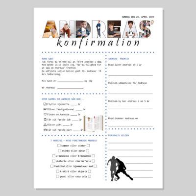Konfirmationsquiz med billeder i navnets bogstaver - dreng