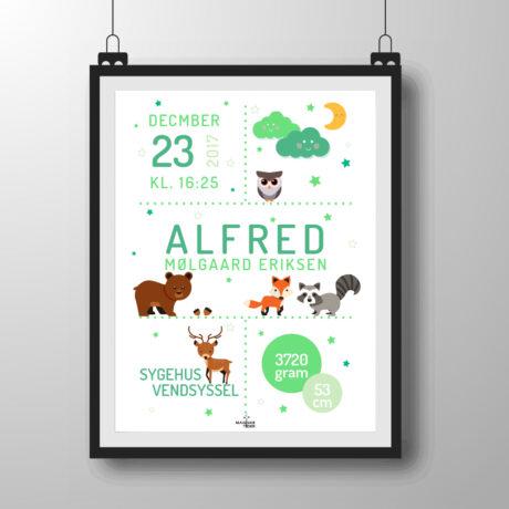 skovens dyr plakat - grøn