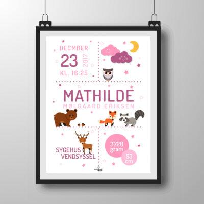 skovens dyr plakat - lyserød