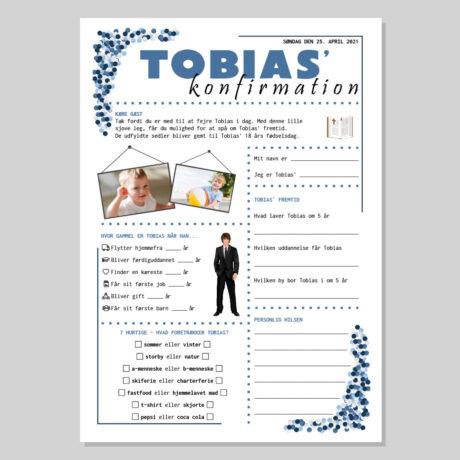 Konfirmationsquiz med konfetti i blålige nuancer