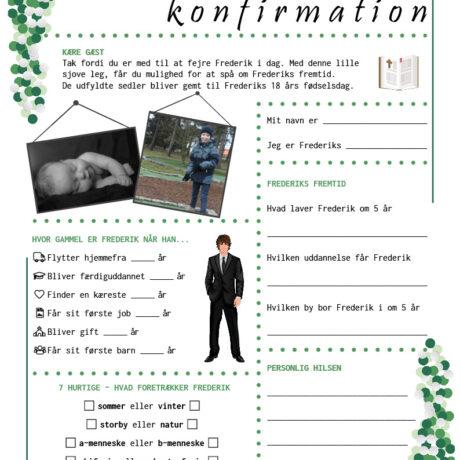 Konfirmationsquiz med konfetti i grønne nuancer