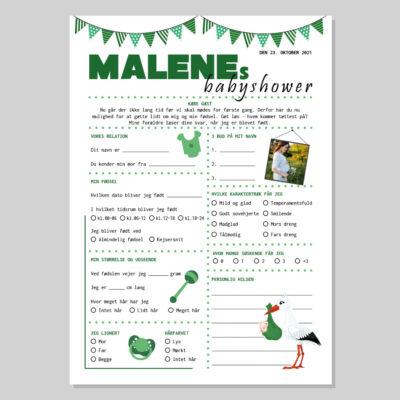 Quiz til babyshower i grønne farver