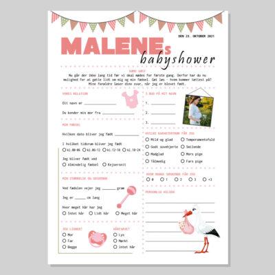 Quiz til babyshower i rosa farver
