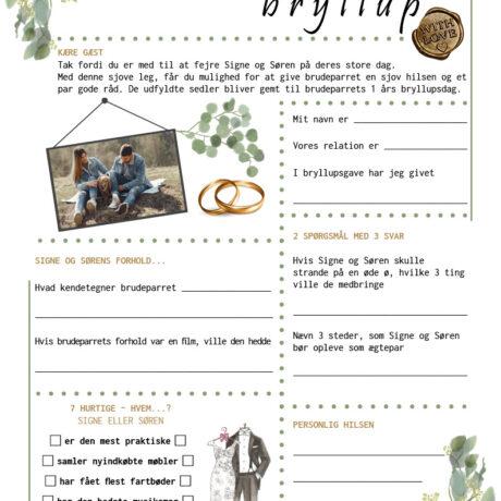 Bryllup quiz i eucalyptus tema