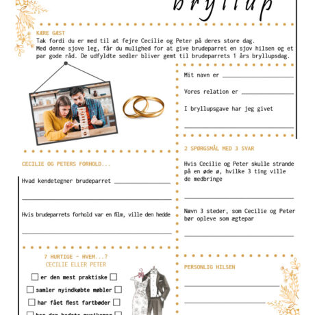 Bryllup quiz i guld tema