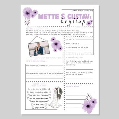 Bryllup quiz med lilla blomster