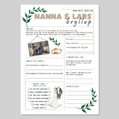 Bryllup quiz i naturtema