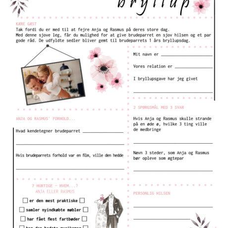 Bryllup quiz med lyserøde blomster