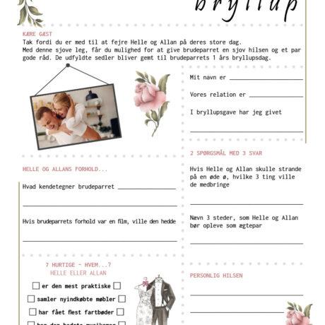 Bryllup quiz med roser