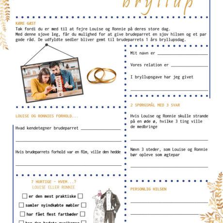 Bryllup quiz i opsætning med kongeblå og guld