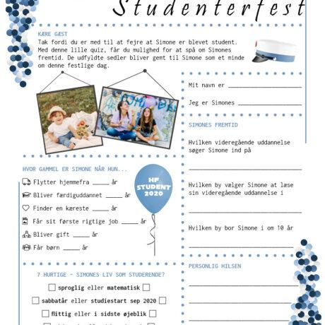 Quiz til studenterfest - hf - pige udgave