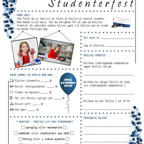 Quiz til studenterfest - hhx - pige udgave