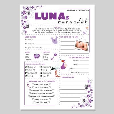 Barnedåbsquiz med lilla sommerfugle