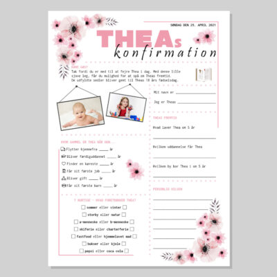 Konfirmationsquiz med lyserøde blomster