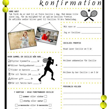 Konfirmationsquiz i tennis tema