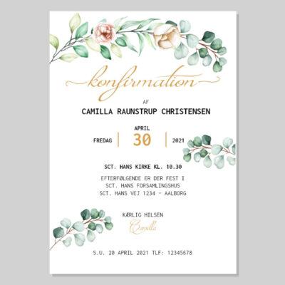 Invitation til konfirmation med eukalyptusblade