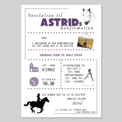 Invitation til konfirmation med hestetema
