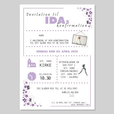 Invitation til konfirmation med lyslilla sommerfugle