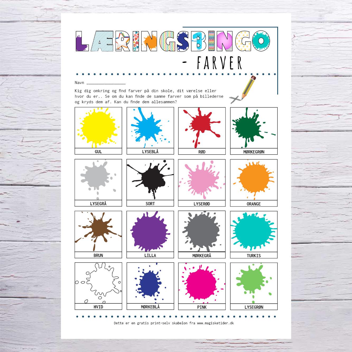 Læringsbingo - farver