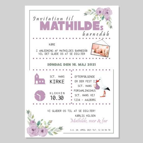 invitation-barnedåb_blomst-lilla_pige-ramme