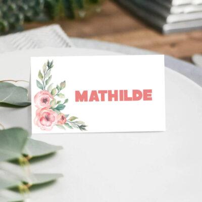 Bordkort i tema med rosa blomster